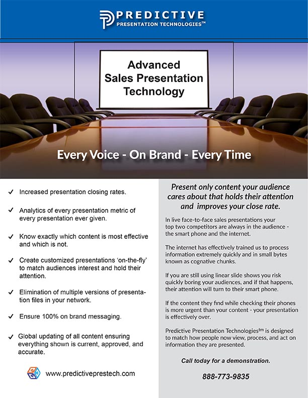 Predictive Presentation Technologies Flyer 2019